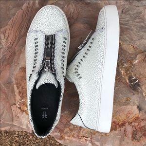 Frye Lena Rebel Zip Slip On White Crackle Sneaker